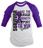 Shirts By Sarah Men's Cancer Survivor Shirt 3/4 Sleeve Raglan Shirts Purple Ribbon-Shirts By Sarah
