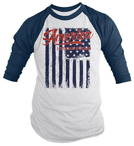 Shirts By Sarah Men's Patriotic America I Stand Proud Patriotic 3/4 Sleeve Raglan Shirt-Shirts By Sarah