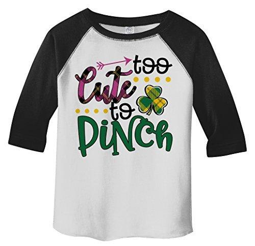 Shirts By Sarah Girl's Toddler Girl's Funny ST. Patrick's Day T-Shirt Too Cute To Pinch 3/4 Sleeve Raglan-Shirts By Sarah