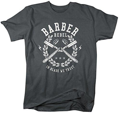 Shirts By Sarah Men's Barber Shirts In Blade We Trust T-Shirt For Barbers-Shirts By Sarah
