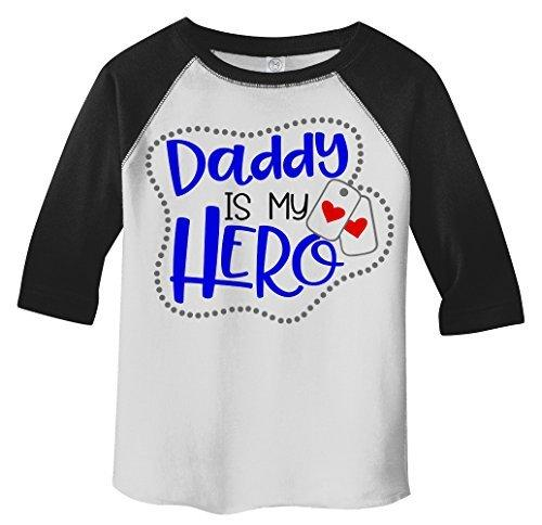 Shirts By Sarah Toddler Daddy Is Hero Soldier 3/4 Sleeve Raglan T-Shirt-Shirts By Sarah