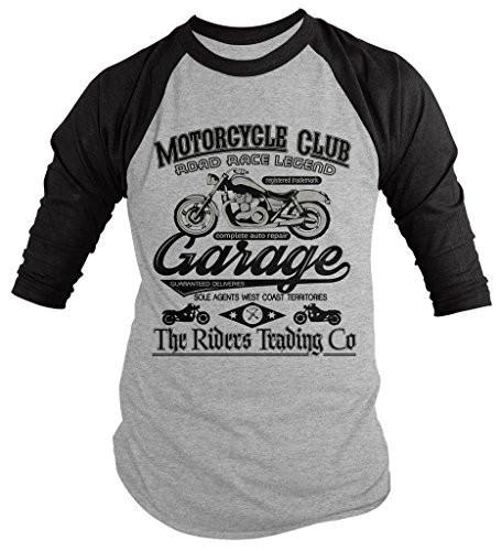 Shirts By Sarah Men's Motorcycle Club 3/4 Sleeve Raglan Shirt Vintage Biker Tee-Shirts By Sarah