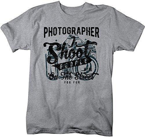 Shirts By Sarah Men's Funny Photographer T-Shirt Shoot People For Fun Distressed Tee-Shirts By Sarah