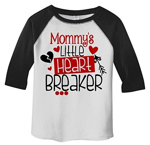 Shirts By Sarah Toddler Mommy's Little Heart Breaker Kids Funny Valentine's Day 3/4 Sleeve T-Shirt-Shirts By Sarah