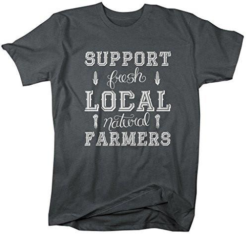 Shirts By Sarah Men's Support Local Farmers T-Shirt Fresh Natural Farming Shirt-Shirts By Sarah
