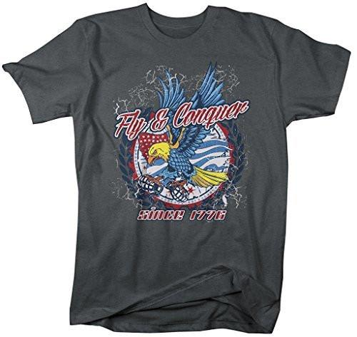 Shirts By Sarah Men's Patriotic Fly Conquer Eagle Tee 4th July America T-Shirt-Shirts By Sarah