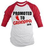 Shirts By Sarah Men's Promoted To Grandpa 2016 Shirt Grandparents Baby Reveal 3/4 Sleeve Raglan Shirts - Red/White / XX-Large - 6