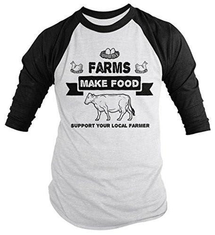 Shirts By Sarah Men's Farms Make Food Support Farmer Shirt Cow Chicken 3/4 Sleeve Raglan Shirt-Shirts By Sarah