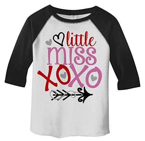 Shirts By Sarah Girl's Toddler Little Miss XOXO Funny Valentine's Day T-Shirt Girl's Toddler 3/4 Sleeve T-Shirt-Shirts By Sarah