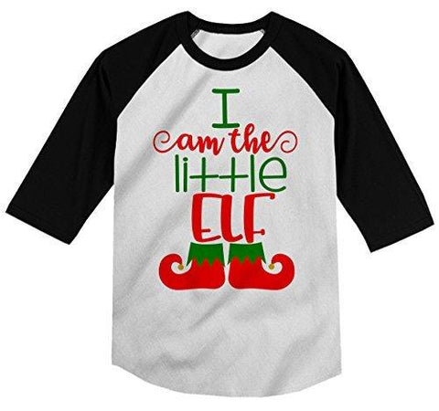 Shirts By Sarah Boy's Christmas I'm The Little Elf T-Shirt Matching Sibling 3/4 Sleeve Shirt-Shirts By Sarah