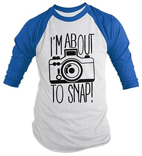Shirts By Sarah Men's Funny Hipster I'm About To Snap Camera Photographer 3/4 Sleeve Shirts-Shirts By Sarah