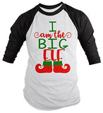 Shirts By Sarah Men's Christmas I'm The Big Elf T-Shirt Matching Sibling 3/4 Sleeve Shirt-Shirts By Sarah