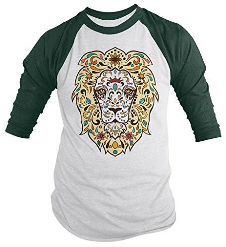 Shirts By Sarah Men's Lion Sugar Skull T-Shirt 3/4 Sleeve Hipster Shirts-Shirts By Sarah