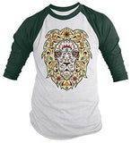Shirts By Sarah Men's Lion Sugar Skull T-Shirt 3/4 Sleeve Hipster Shirts - Forest/White / XX-Large - 1