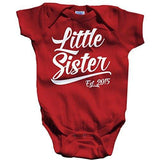 Shirts By Sarah Baby Girl's Little Sister Est. 2015 One Piece Creeper Bodysuit - Red / 12 Months - 6