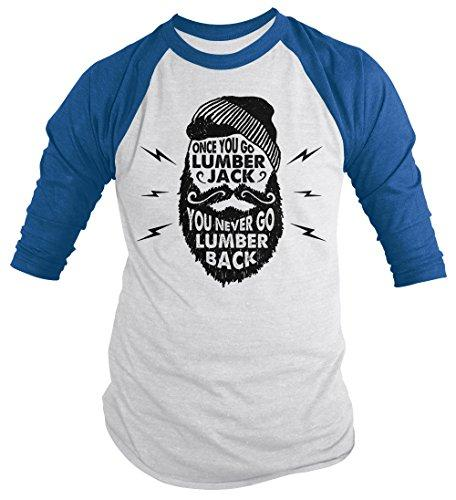 Men's Funny Lumberjack T-Shirt Never Lumber Back Woodsman Tee 3/4 Sleeve Raglan-Shirts By Sarah