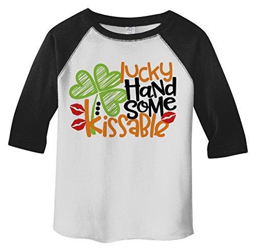 Shirts By Sarah Toddler Boy's Lucky Handsome Kissable T-Shirt ST. Patrick's Day Raglan Tee 3/4 Sleeve-Shirts By Sarah