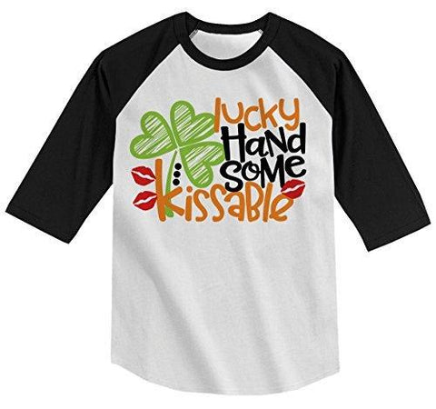 Shirts By Sarah Boy's Lucky Handsome Kissable T-Shirt ST. Patrick's Day Raglan Tee-Shirts By Sarah