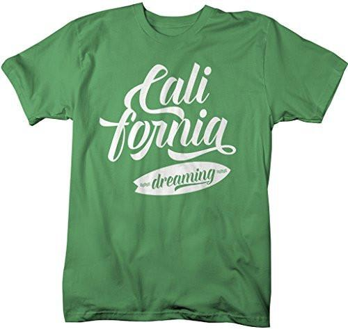Shirts By Sarah Men's California Dreaming T-Shirt Surfer Shirts Cali Tee-Shirts By Sarah