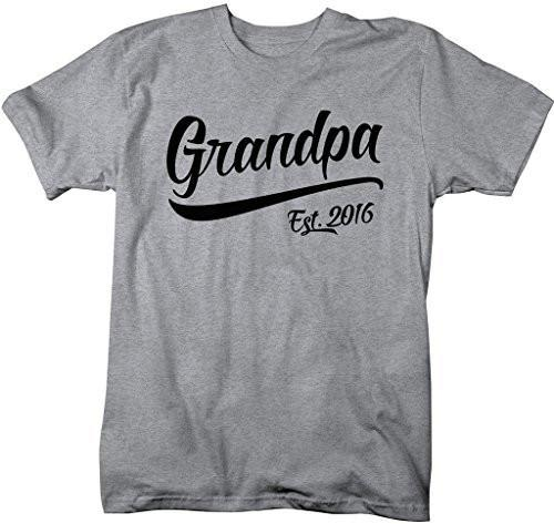 Shirts By Sarah Men's Grandpa Est. 2016 T-Shirt Fathers Day Ring Spun Shirt-Shirts By Sarah