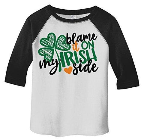 Shirts By Sarah Boy's Toddler Funny Irish Side T-Shirt ST. Patrick's Day Shamrock Raglan Tee Blame-Shirts By Sarah