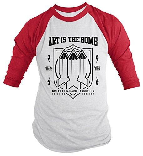 Shirts By Sarah Men's Art Is Bomb Artist Thoughts Dangerous Hipster 3/4 Sleeve Raglan-Shirts By Sarah
