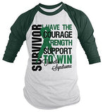 Shirts By Sarah Men's Tourette Syndrome Survivor Shirt 3/4 Sleeve Shirts Green Ribbon - Forest Green/White / XX-Large - 2