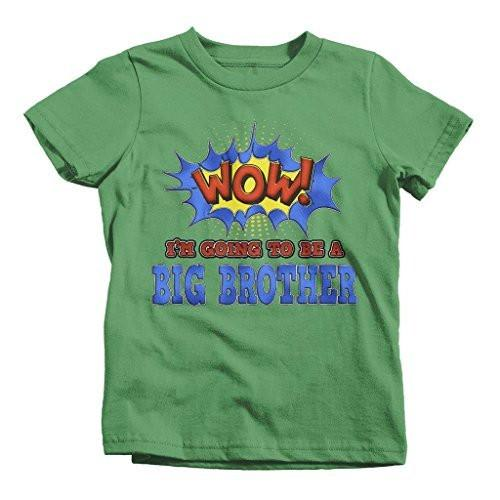 Shirts By Sarah Boy's Big Brother To Be T-Shirt Comic Style Baby Reveal Shirt-Shirts By Sarah