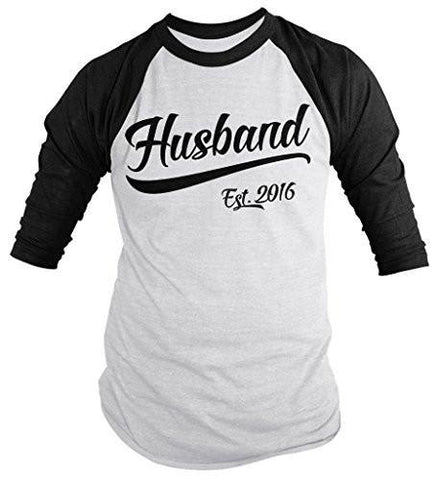 Shirts By Sarah Men's Husband Est. 2016 Shirt Wedding Anniversary 3/4 Sleeve Raglan Shirts-Shirts By Sarah