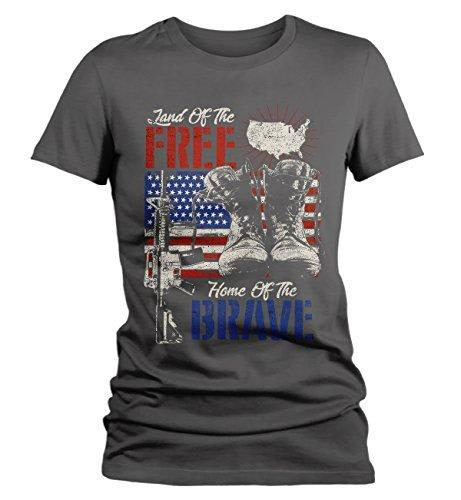 Shirts By Sarah Women's 4th July T-Shirt Land Free Home Brave Tee Soldier Shirt-Shirts By Sarah