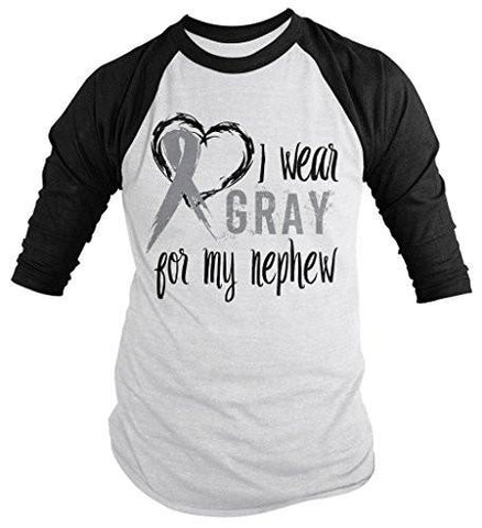 Shirts By Sarah Men's Wear Gray For Nephew 3/4 Sleeve Brain Cancer Asthma Diabetes Awareness Ribbon Shirt - Black/White / XX-Large