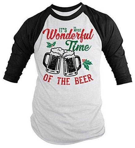 Shirts By Sarah Men's Funny Christmas Beer T-Shirt Wonderful Time 3/4 Sleeve Raglan Tee-Shirts By Sarah