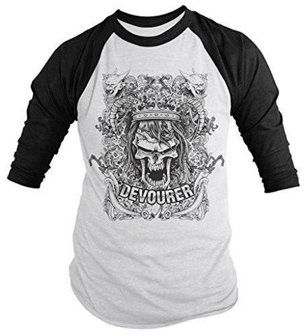 Shirts By Sarah Men's Devourer Skull T-Shirt 3/4 Sleeve Raglan Gargoyle Shirts-Shirts By Sarah