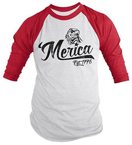 Shirts By Sarah Men's Patriotic 'Merica Est. 1776 Eagle Distressed 4th July 3/4 Sleeve Raglan Shirt-Shirts By Sarah