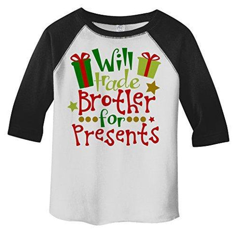 Shirts By Sarah Little Girl's Funny Trade Brother For Presents Toddler 3/4 Sleeve Raglan-Shirts By Sarah