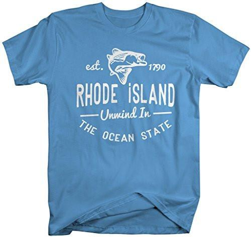 Shirts By Sarah Men's Rhode Island Shirt State Slogan Unwind In The Ocean State T-Shirt Est. 1790-Shirts By Sarah