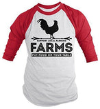 Shirts By Sarah Men's Farming 3/4 Sleeve Raglan T-Shirt Farms Put Food On Table Support-Shirts By Sarah