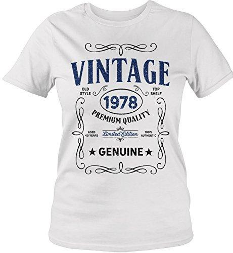 Shirts By Sarah Women's Vintage 1978 40th Birthday T-Shirt Classic Forty Tee Shirt-Shirts By Sarah