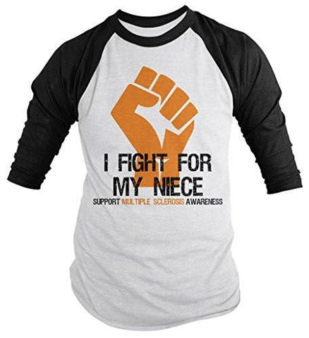 Shirts By Sarah Men's Multiple Sclerosis Awareness Shirt 3/4 Sleeve Fight For Niece Fist Orange Ribbon - Black/White / XX-Large
