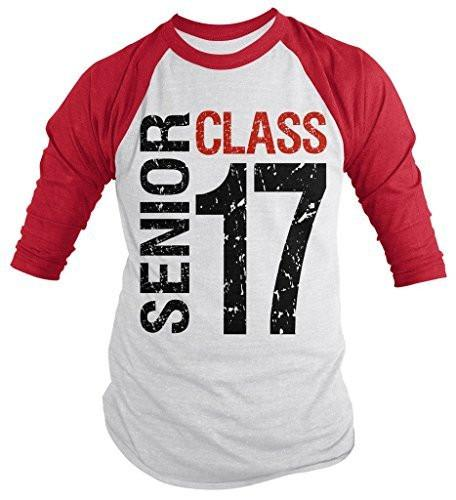 Shirts By Sarah Men's Senior Class T-Shirt 16 3/4 Sleeve Shirts Seniors 2017 Distressed Raglan-Shirts By Sarah