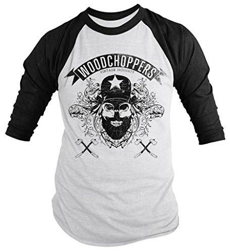 Shirts By Sarah Men's Grunge Urban Lumberjack 3/4 Sleeve Raglan Shirt Woodchoppers Skull-Shirts By Sarah