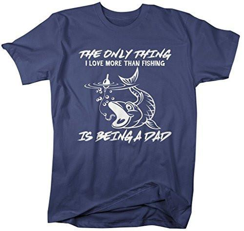 Shirts By Sarah Men's Love Fishing T-Shirt Being A Dad Fisherman Shirt-Shirts By Sarah