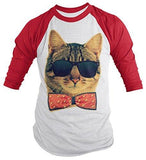 Shirts By Sarah Men's Funny Hipster Cat Shirt 3/4 Sleeve Raglan Kitty Shirts Bow Tie - Red/White / XX-Large - 6