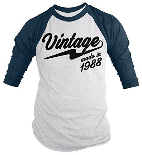 Shirts By Sarah Men's Vintage Made In 1988 30th Birthday Raglan Retro 3/4 Sleeve Shirts-Shirts By Sarah