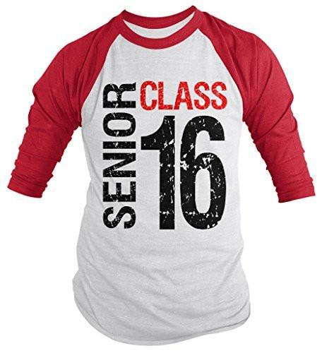 Shirts By Sarah Men's Senior Class T-Shirt 16 3/4 Sleeve Shirts Seniors 2016 Distressed Raglan-Shirts By Sarah