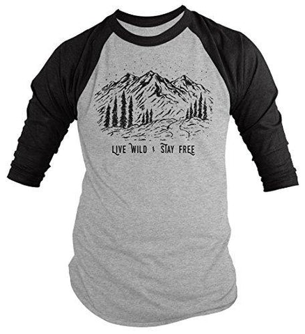 Men's Hipster T-Shirt Live Wild Stay Free Mountains Nature Shirt 3/4 Raglan-Shirts By Sarah