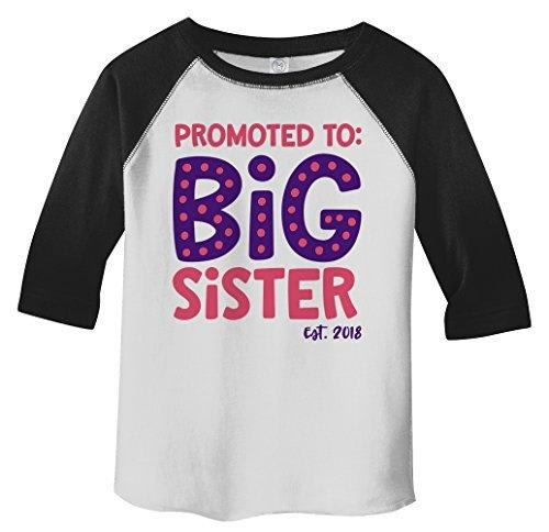 Shirts By Sarah Girl's Toddler Promoted To Big Sister EST. 2018 3/4 Sleeve Raglan-Shirts By Sarah
