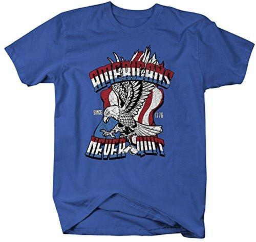 Shirts By Sarah Men's Patriotic Americans Never Quit Eagle Flag 4th July T-Shirt-Shirts By Sarah