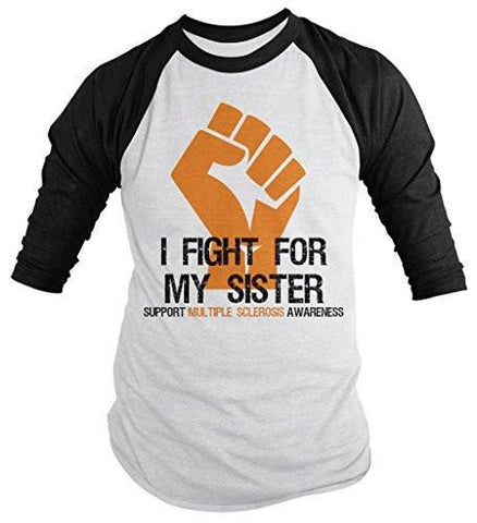 Shirts By Sarah Men's Multiple Sclerosis Awareness Shirt 3/4 Sleeve Fight For Sister Fist Orange Ribbon - Black/White / XX-Large