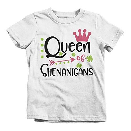 Shirts By Sarah Girl's Queen Of Shenanigans Funny T-Shirt ST. Patrick's Day Toddler Tee-Shirts By Sarah